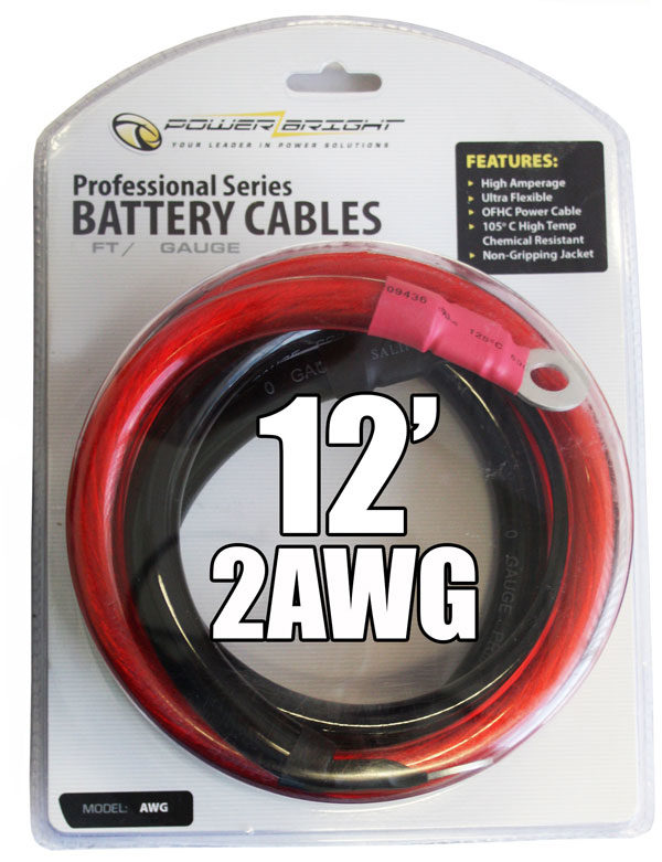 2AWG12 - 2 Gauge 12 Ft Battery Cables