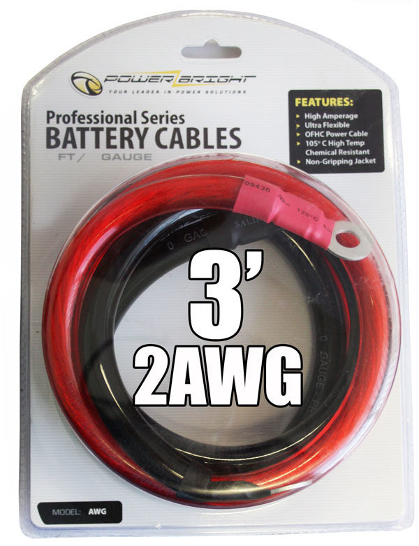 2AWG3 - 2 Gauge 3 Ft Battery Cables